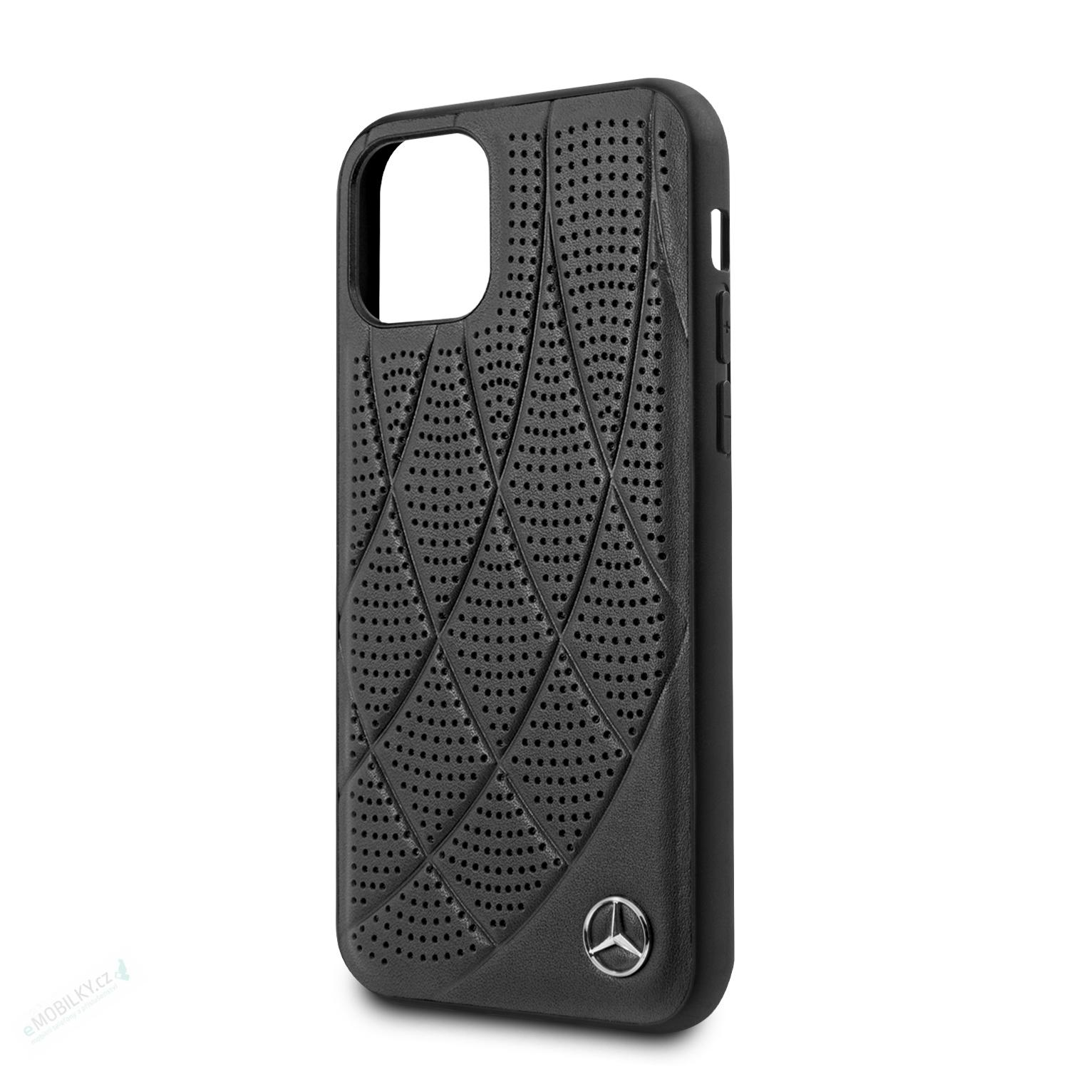 MEHCN58DIQBK Mercedes Perforated Leather Zadní Kryt pro iPhone 11 Pro Black