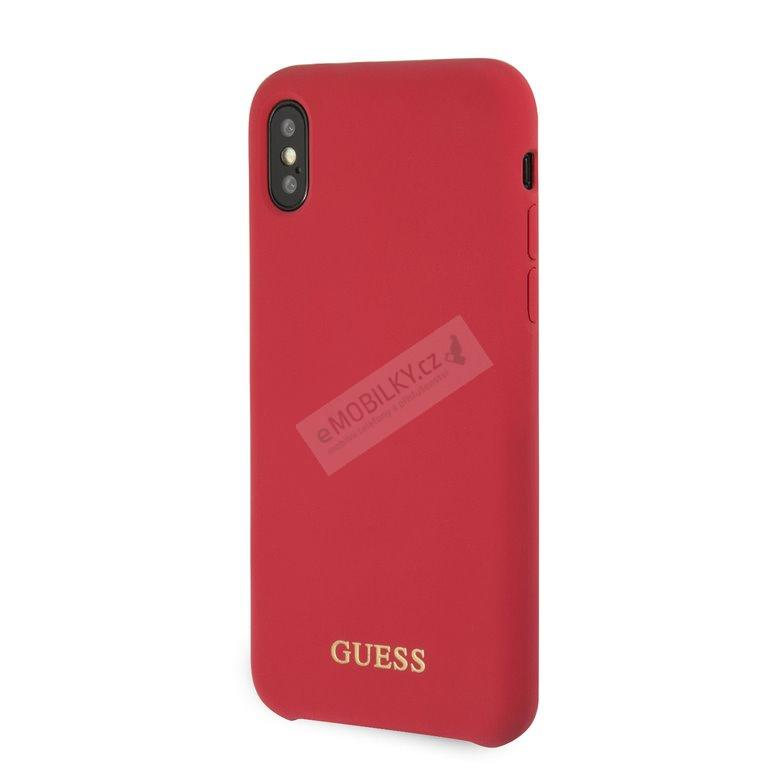 GUHCPXLSGLRE Guess Silicone Cover Gold Logo Red pro iPhone X/XS 3700740432938