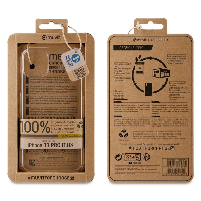Muvit For Change Recycletek ECO Kryt pro Apple iPhone 11 Pro Max Transparent (ECO Balení 3663111142839