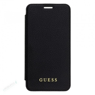 GUBPBKTI61IBK Guess Bundle Leather Book Case Iridescent Black + Tempered Glass pro iPhone XR
