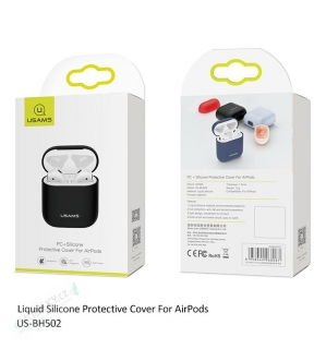 USAMS BH502 Liquid Silicone Protective Kryt pro AirPods Dark Blue (EU Blister)