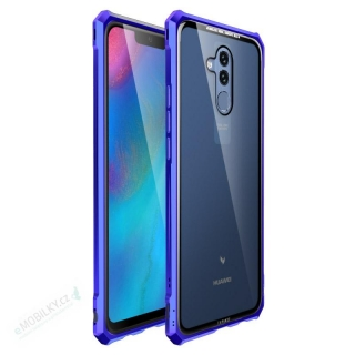 Luphie King of Snaps Magnetic Aluminium Bumper Case Glass Blue pro Huawei Mate 20 Lite 8596311053788