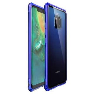 Luphie King of Snaps Magnetic Aluminium Bumper Case Glass Blue pro Huawei Mate 20 Pro 8596311053740