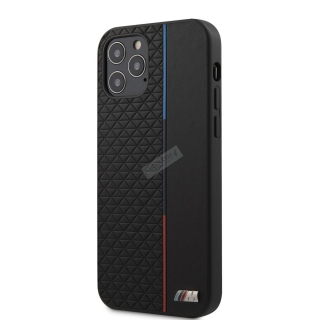 BMHCP12MTRTBK BMW PU Triangles Tricolor Line Kryt pro iPhone 12/12 Pro 6.1 Black 3700740485781