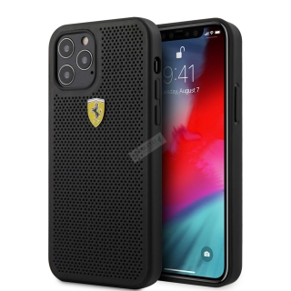 FESPEHCP12MBK Ferrari On Track Perforated Zadní Kryt pro iPhone 12/12 Pro 6.1 Black 3700740479636