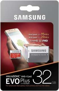 Samsung Micro SDHC EVO Plus 32GB UHS-I + SD adaptér MB-MC32GA/EU