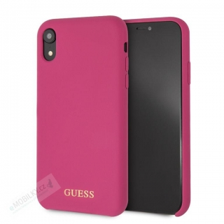 GUHCI61LSGLPI Guess Silicone Gold Logo Pouzdro Pink pro iPhone XR