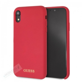 GUHCI61LSGLRE Guess Silicone Gold Logo Pouzdro Red pro iPhone XR