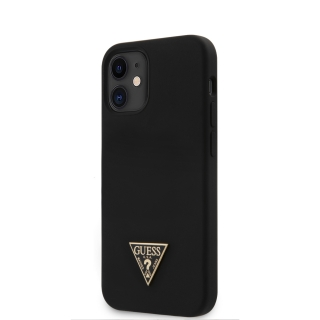GUHCP12SLSTMBK Guess Silicone Metal Triangle Zadní Kryt pro iPhone 12 mini 5.4 Black 3700740489093
