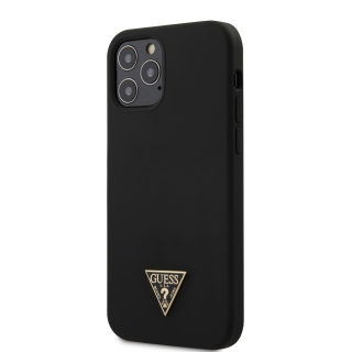 GUHCP12MLSTMBK Guess Silicone Metal Triangle Zadní Kryt pro iPhone 12/12 Pro 6.1 Black 3700740489109