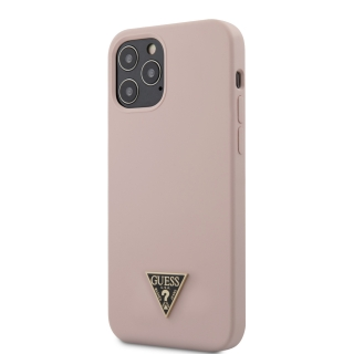 GUHCP12LLSTMLP Guess Silicone Metal Triangle Zadní Kryt pro iPhone 12 Pro Max 6.7 Light Pink 3700740489086