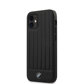 BMHCP12SPOCBK BMW Leather Hot Stamp Vertical Lines Kryt pro iPhone 12 mini 5.4 Black 3700740486672