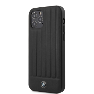 BMHCP12MPOCBK BMW Leather Hot Stamp Vertical Lines Kryt pro iPhone 12/12 Pro 6.1 Black 3700740486689