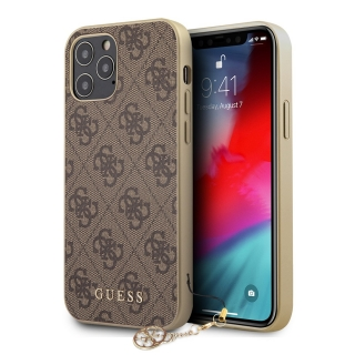 GUHCP12MGF4GBR Guess 4G Charms Zadní Kryt pro iPhone 12/12 Pro 6.1 Brown 3700740489550