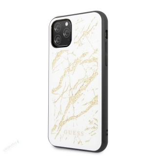 GUHCN58MGGWH Guess Marble Glass Zadní Kryt pro iPhone 11 Pro White (EU Blister) 3700740470596