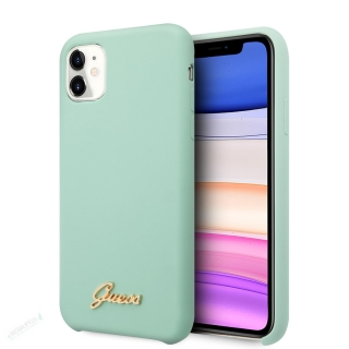 GUHCN61LSLMGGR Guess Silicone Vintage Zadní Kryt pro iPhone 11 Green (EU Blister) 3700740471876