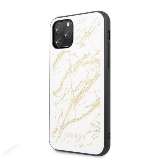 GUHCN61MGGWH Guess Marble Glass Zadní Kryt pro iPhone 11 White (EU Blister) 3700740472026