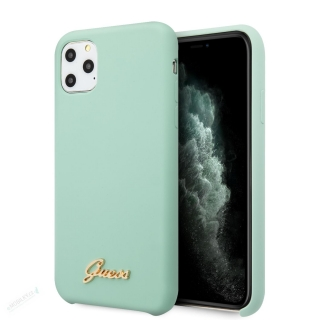 GUHCN65LSLMGGR Guess Silicone Vintage Zadní Kryt pro iPhone 11 Pro Max Green (EU Blister) 3700740471883