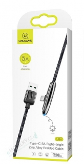 USAMS SJ363 U34 Zinc Alloy Datový Kabel Type C Black (EU Blister)