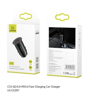 USAMS CC097 QC4.0 PD 3.0 USB Autodobíječ Black (EU Blister) 6958444984858