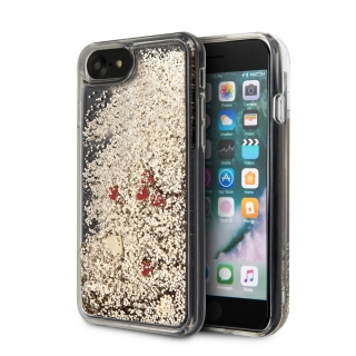 GUHCI8GLHREGO Guess Glitter Floating Hearts Kryt pro iPhone 8/SE2020 Gold 3700740475799