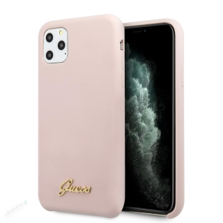 GUHCN65LSLMGLP Guess Silicone Vintage Zadní Kryt pro iPhone 11 Pro Max Pink (EU Blister) 3700740471760