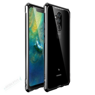 Luphie King of Snaps Magnetic Aluminium Bumper Case Glass Black pro Huawei Mate 20 Lite 8596311053764