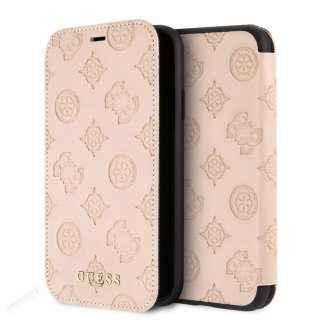 GUFLI61PELLP Guess Debossed Peony Book Pouzdro pro iPhone XR Latte (EU Blister)